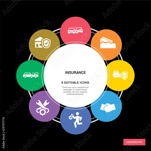 Photo  8 insurance concept icons infographic design
