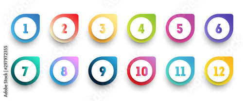 Colorful gradient arrow bullet point set with number from 1 to 12 Fototapet