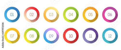Circle 3d icon set with number bullet point from 1 to 12. Canvas-taulu