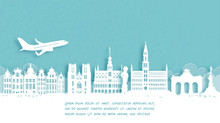 Travel Poster With Welcome To Belgium Famous Landmark In Paper Cut Style Vector Illustration.