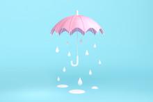 Rain Under The Pink Umbrella On Blue Background 3d Rendering. 3d Illustration Minimal Style Concept. Rainny Season.