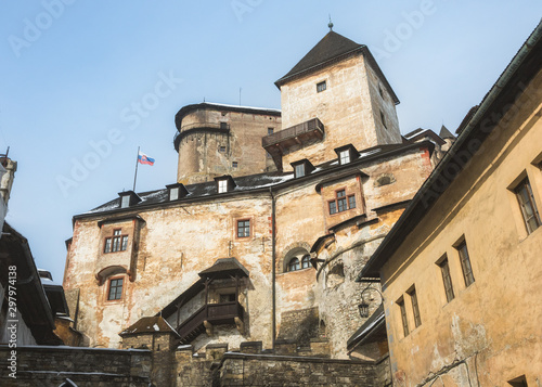 View of the upper castle from inner bailey (courtyard) at Orava Castle, Oravsky Canvas Print