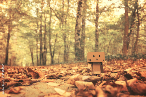 Garden Poster Road in forest Petite figurine en carton se ballade en forêt pendant l'automne