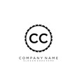 CC Initial logo letter with minimalist concept vector