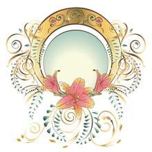 Art Nouveau Frame With Lilies