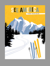 Retro Style Travel Poster Design For The United States.  Downhill Skiing In The Mountains. Limited Colors, No Gradients.