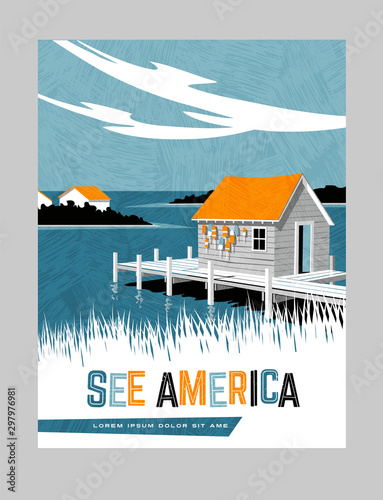 Photo Retro style travel poster design for the United States
