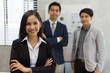 Picture portrait of business asian woman and business asian man a smile in modern office