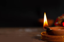 Happy Diwali / Karthigai Deepam - Hindus Religious Festival - Candle Flame Close-up