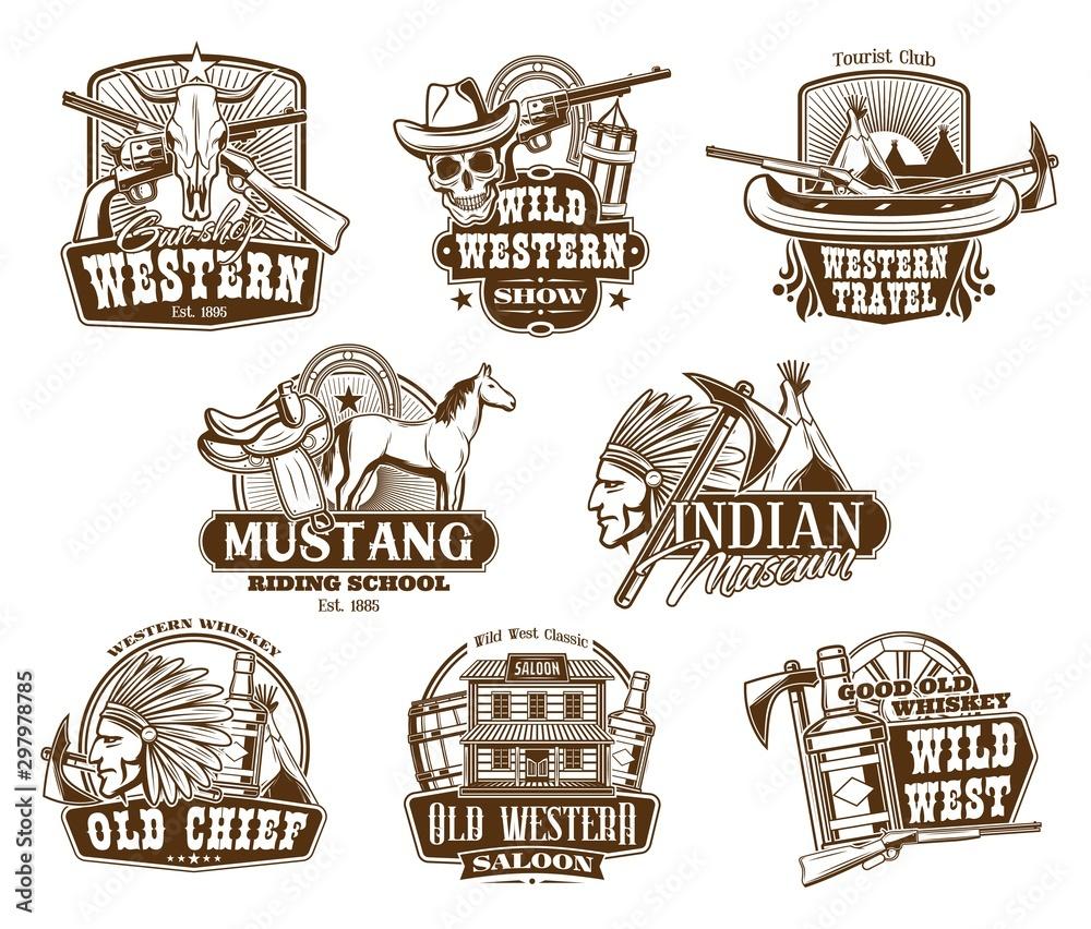 Fototapety, obrazy: Wild West, American Western icons
