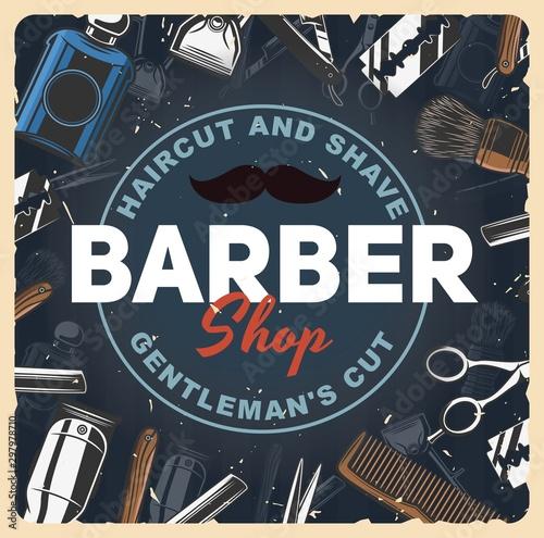 Papiers peints Echelle de hauteur Barbershop razors, blade, shaver and scissors