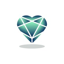 Green Heart Diamond Flat Icon, Vector Sign, Game Crystal Heart Stone Colorful Pictogram Isolated On White. Symbol, Logo Illustration. Flat Style Design
