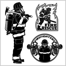Fire Department Vector Set - Fireman S And Emblems - Badges, Elements.