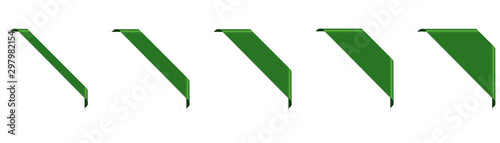 Fotografie, Obraz set of green corner ribbon banners