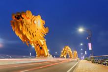 Beautiful Evening View Of The Dragon Bridge In Danang, Vietnam