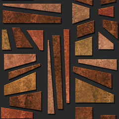 Fototapeta Abstrakcja Bronze metallic seamless texture with geometric pattern, 3D illustration, 3d panel