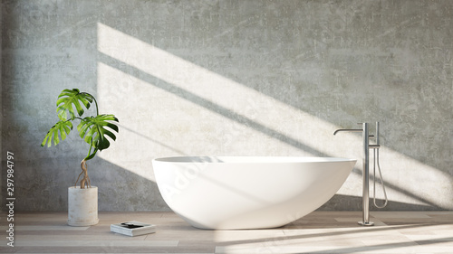 White  bath tub standing in a modern bathroom Fotobehang