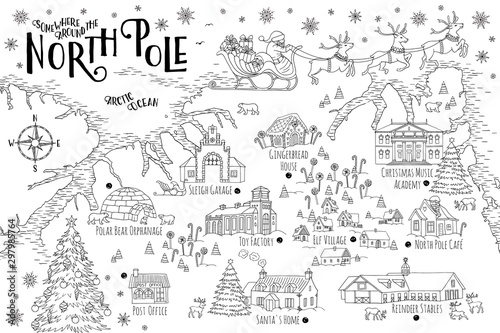 Photo Fantasy map of the North Pole, showing the home and toy factory of Santa Claus, reindeer stables, elf village etc