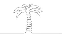 Single Palm Tree Drawing In St...