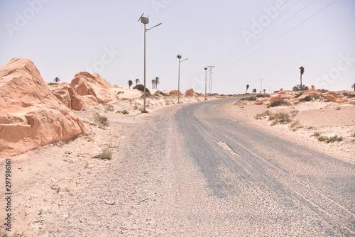 Poster Route 66 Sand dunes in Sahara desert, Tunisia.