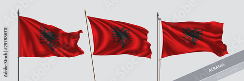 Set of Albania waving flag on isolated background vector illustration Canvas Print