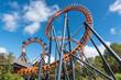 Leinwanddruck Bild - Ferris wheel and roller coaster, France