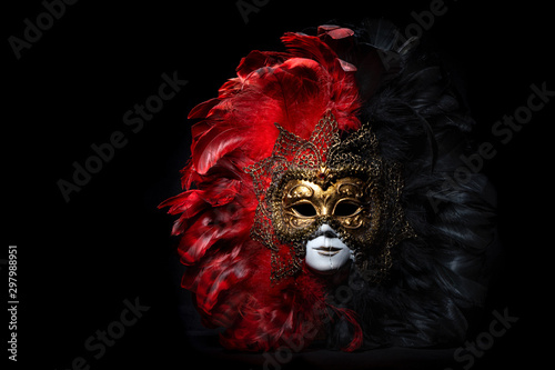 Fotografía  Italian carnival venetian mask. Mysterious event, party