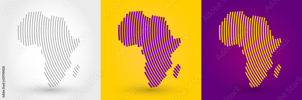 Fototapeta Striped map of Africa
