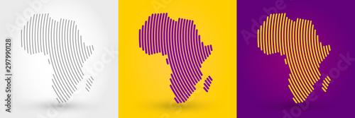 Striped map of Africa - fototapety na wymiar