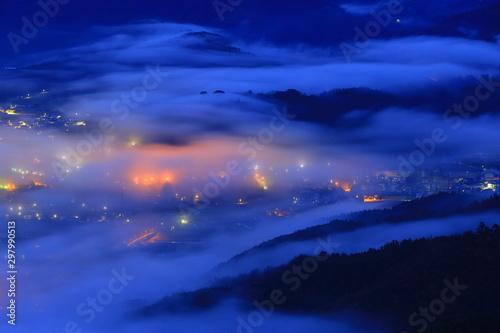 Keuken foto achterwand Donkerblauw 岩手県遠野市 高清水展望台からの雲海