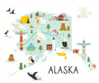 Alaska illustrated map with animals and symbols.