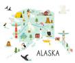 Alaska illustrated map with animals and symbols.