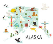 Alaska Illustrated Map With An...