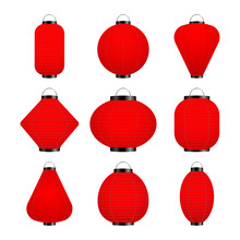 Vector Set Of Red Lantern Isolated On A White Background.