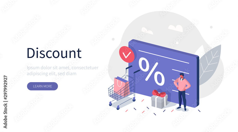 Fototapeta Character Standing near Shopping Discount Voucher. Reward Gifts and Money. Cashback and Customer Loyalty Program Concept. Flat Isometric Vector Illustration. Flat Isometric Vector illustration.