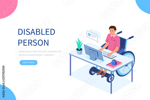 Disabled person in wheelchair working at computer desk in office Wallpaper Mural