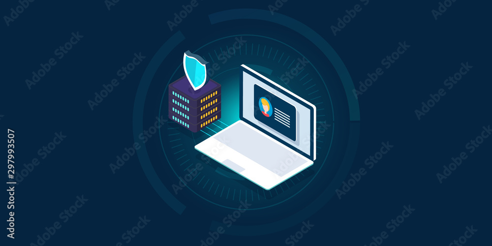 Fototapety, obrazy: Secure customer data - data protection- business privacy concept. 3d isometric design banner template.