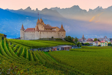 Famous castle Chateau d'Aigle among the vineyards in canton Vaud, Switzerland