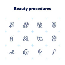 Beauty Procedures Line Icon Set. Set Of Line Icons On White Background. Face, Girl, Beauty Injection. Beauty Care Concept. Vector Illustration Can Be Used For Topics Like Spa Salon, Beauty