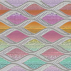 Panel Szklany 3D Carving waves pattern on background seamless texture, patchwork pattern, pastel color, stripes texture, 3d illustration
