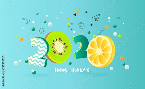 Happy new year 2020 holiday background with 3d numbers 2020 in juicy colors. Vector illustration - 297995530