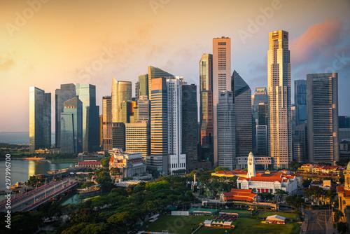 Singapore city skyline of business district downtown at sunrise Fototapeta
