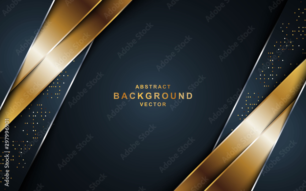 Fototapeta Black background overlap gold and black sheets, modern abstract widescreen background with place for your text or message