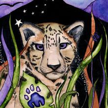 Illustration  With Colorful Watercolour Illustration Snow Leopard On Black Background For Celebration Design. Watercolor Leopard .  Animal Safari Skin Texture.