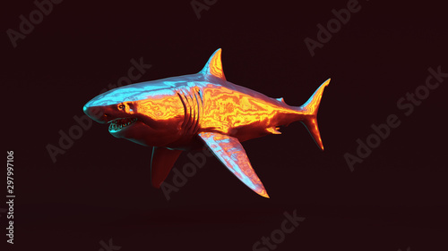 Fényképezés Silver Great White Shark with Red Orange and Blue Green Moody 80s lighting 3 Qua