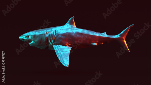 Obraz na plátne Silver Great White Shark with Red Orange and Blue Green Moody 80s lighting Left