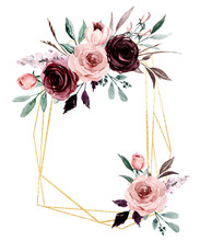 Flowers Gold Geometric Frame. ...