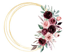 Flowers Gold Frame Border. Watercolor Hand Painting Floral Wreath With Place For Text With Bouquets Pink And Burgundy Roses. Isolated On White Background.