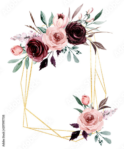 Flowers gold geometric frame. Watercolor hand painting floral border with place for text with bouquets pink and burgundy roses. Isolated on white background.