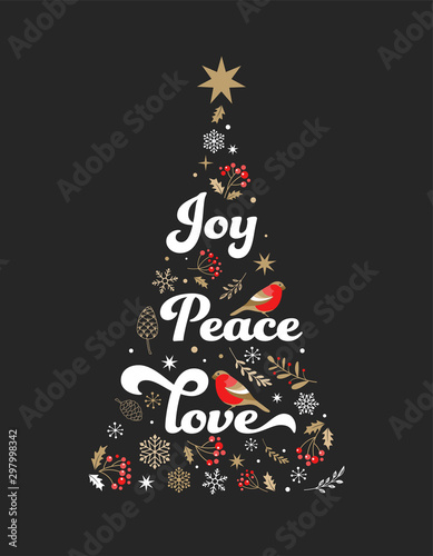 Photo  Elegant gold and black Christmas tree with Xmas elements